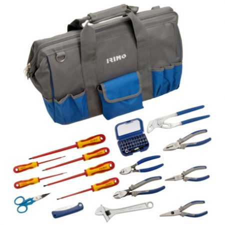 Bolsa con 46 herramientas de electricista