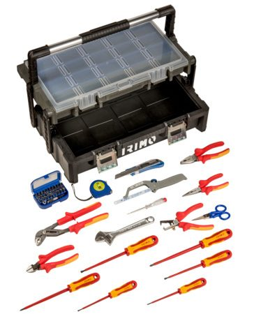 Caja de plástico con herramientas de electricista sin foam